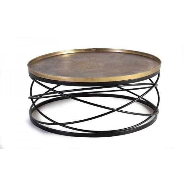 Mesa centro redonda metal y bronce