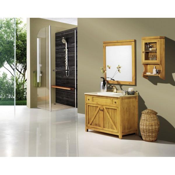 Mueble de Baño  y espejo en madera Rústico