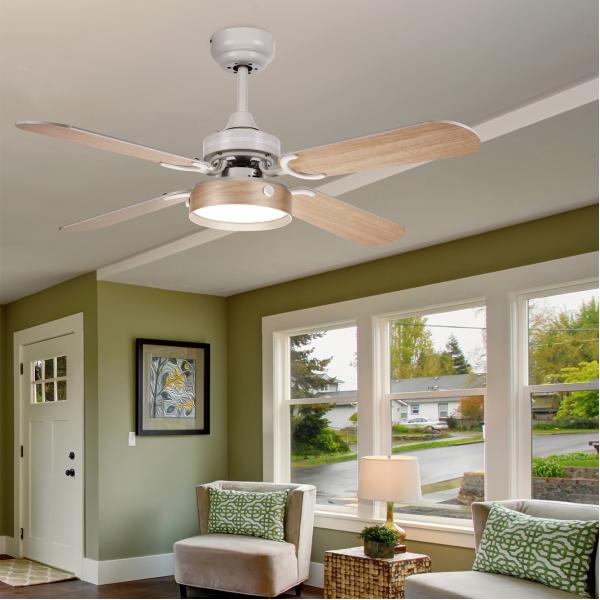 Ventilador ventilador rustico led C.remoto blanco