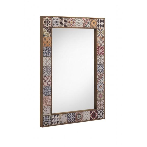 Espejo madera con cenefa de cerámica