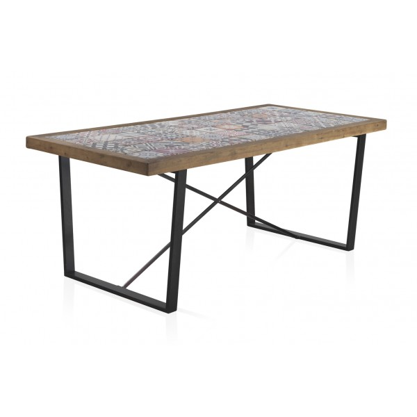 Mesa madera con sobre de ceramica