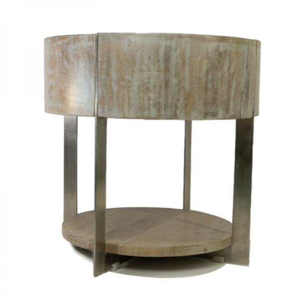Mesa auxiliar madera y aluminio